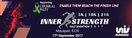 Inner Strength Half Marathon 2017 - Sunday September 17th, 2017 , 4:15 AM to 8:00 AM  - Chennai