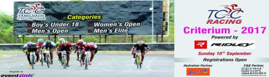 Tamilnadu Cycling Club Criterium Races 2017 - Sunday September 10th, 2017 , 5:30 AM to 9:15 AM  - Chennai