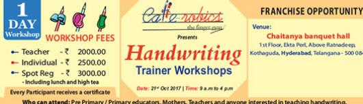 Handwriting-Trainer Workshops - Saturday October 28th, 2017 , 9:00 AM to 4:00 PM  - Hyderabad