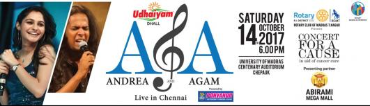 Andrea and Agam in Concert for a Cause - Saturday October 14th, 2017 , 6:00 PM to 9:00 PM  - Chennai