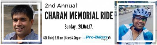 Charan Memorial Ride 2017 - Sunday October 29th, 2017 , 5:30 AM to 8:30 AM  - Chennai