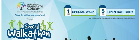 Special walkathon - Sunday December 10th, 2017 , 6:00 AM to 9:00 AM  - Coimbatore