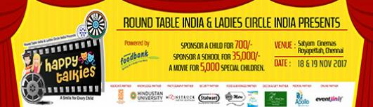 Happy Talkies- Movie Festival for Underprivileged, Differently Abled and Special ones. - Saturday November 18th, 2017 to Sunday November 19th, 2017 9:00 AM  Onwards - Chennai