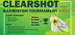 Clearshot Badminton Tournament-Nov 26, 2017 , 9:00 AM to 6:30 PM  - Chennai