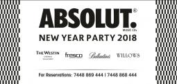 ABSOLUT NEW YEAR PARTY2018-Dec 31, 2017 to Jan 1, 2018 , 7:30 PM to 1:00 AM  - Chennai