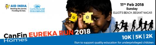 10K-Aid India Eureka Run 2018 - Sunday February 11th, 2018 5:45 AM  Onwards - Chennai