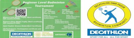 Beginner Level Junior Badminton Tournament - Saturday February 24th, 2018 to Sunday February 25th, 2018 , 9:00 AM to 5:00 PM  - Chennai